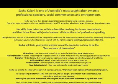Sacha Works With Lawyers – Within Law Firms And Also While In Their Final Years of University. The Craft of Public Speaking and How To Get More Clients